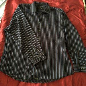 Alfani Black Blue Stripe Dress-shirt 17.5